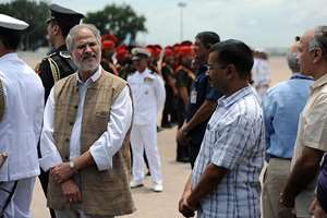 Lieutenant Governor Najeeb Jung, Delhi CM Arvind Kejriwal and Deputy Chief Minister Manish Sisodia at the Air Force Station for paying homage at the mortal remains of the former President of India, Dr. A.P.J. Abdul Kalam, in New Delhi.
