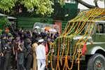 Late former president Dr APJ  Kalam's casket arrives at his residence, 10 Rajaji Marg, in Delhi.