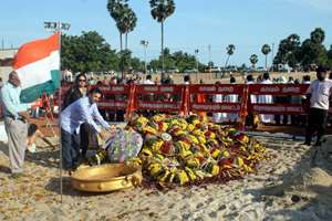 People pay homage at the grave of former president APJ Abdul Kalam in Rameswaram, Tamil Nadu.
