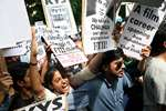 FTII students protest demanding the removal of Gajendra Chauhan, in New Delhi.