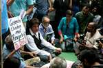 Actor and Congress leader Raj Babbar with FTII students protesting for the removal of Gajendra Chauhan, in New Delhi.
