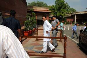 Congress Vice President Rahul Gandhi outside Parliament.