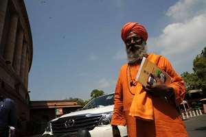 BJP MP Swami Sachidanand Sakshi Maharaj outside the Parliament.