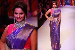 Tennis player Sania Mirza during a fashion show at the India International Jewellery Week in Mumbai.
