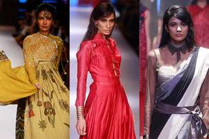 Model displays a creation during the Lakme Fashion Week in Mumbai.