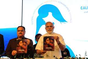 JP Nadda with Prime Minister, Narendra Modi delivering the keynote address at the Global Call to Action Summit 2015, in New Delhi.