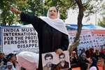 Parveena Ahangar, Chairperson of Association of Parents of Disappeared Persons (APDP) during a silent sit-in protest in support of their demand for whereabouts of their missing kids on the occasion of 'International Disappearance Day', at Partap park in Srinagar.