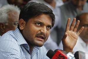 Hardik Patel, 22-year-old firebrand leader of Patidar Andolan Samiti addresses a press conference in New Delhi. Patel is leading an agitation for members of the Patel community demanding government benefits for them under the Other Backward Class (OBC) quota.