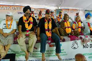 Ex-servicemen during the agitation for 'One Rank One Pension' (OROP) at Jantar Mantar, in New Delhi.