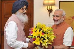 The Chief Minister of Punjab, Parkash Singh Badal calling on the Prime Minister, Narendra Modi, in New Delhi.