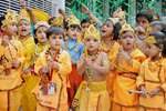 School children dress up as lord Krishna to celebrate Janmashtami at a school in Amritsar.