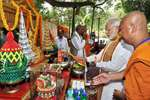 Prime Minister Narendra Modi offering prayers at the Mahabodhi Temple in Bodh Gaya.
