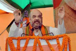 BJP President Amit Shah addressing the party workers meeting in Patna.