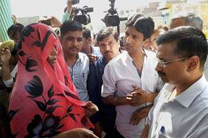 A village woman stopping Delhi Chief Minister Arvind Kejriwal and AAP leaders Kumar Vishwas and Sanjay Singh from entering Bisara village where Mohd Ikhlaq was recently lynched by a mob, in Dadri.