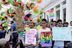 Members of the lesbian, gay, bisexual, trans-gender (LGBT) community and supporters  during a Campaign March at Connaught Place in New Delhi.