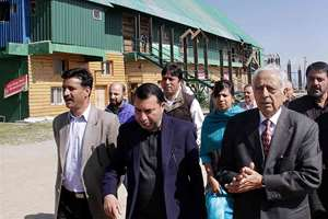 Chief Minister of Jammu and Kashmir Mufti Mohammad Sayeed along with senior officials inspecting tourist resorts in Gulmarg.