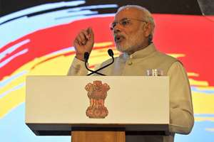 Prime Minister, Narendra Modi addressing at the Indo-German Summit 2015, organised by the NASSCOM & Frauenhofer Institute, in Bengaluru.