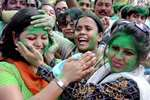 TMC supporters celebrate after their win in Bidhannagar Municipality election, at Salt Lake in North 24 Pargana district, West Bengal.