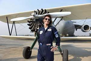 British aviator Tracey Curtis Taylor after a fly past in Hindon. Taylor, a renowned adventurer and pilot, is currenlty in India as part of her journey from the United Kingdom to Australia in a biplane.