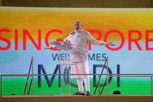 Prime Minister Narendra Modi delivers a public speech to a crowd of mostly Indian nationals at the Singapore Expo.