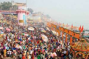 Devotees gathers for the holy dip in river Ganga on the occasion of  Kartik Purnima in Varanasi.
