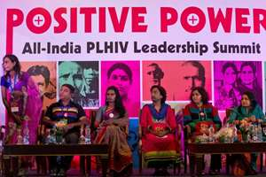 People living with HIV from left to right, Bipasha, Akram, Chandramukhi, Priya and Puja Thakur, at a leadership summit of HIV affected people, in New Delhi.