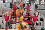 Artists from Telangana perfom during Surajkund International Crafts Mela in Faridabad.