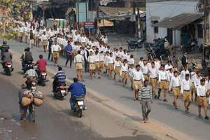 RSS workers during 'Path Sanchalan', in Allahabad.