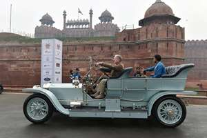 Vintage cars on display at 21 Gun Salute International Vintage Car Rally & Concours Show in the front of Red Fort in New Delhi.