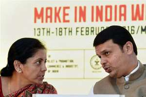 Minister of State for Commerce and Industry Nirmala Sitharaman and Maharashtra Chief Minister Devendra Fadnavis during the 'Make in India Week' curtain raiser press conference in Mumbai, Maharashtra.